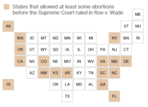 Equal area cartogram: states allowing abortions before Roe vs Wade