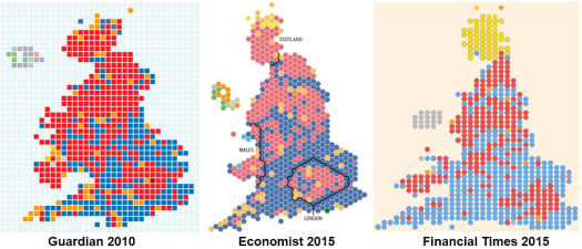 Tiles from UK elections using squares, hexagons and circles