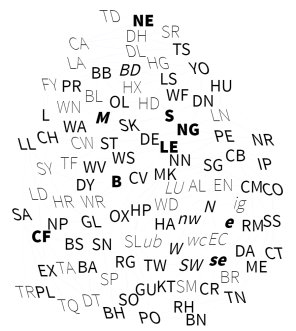UK post code areas indicating data via font weight, italic, and case.