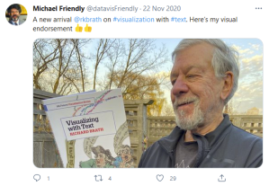 Photo of Michael Friendly visually endorsing Visualizing with Text.